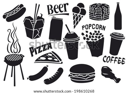 fast food icons set hamburger pizza hot dog juice Chinese fast food fried chicken legs barbecue grill sausages ice cream pancake milk shake popcorn paper cup of coffee