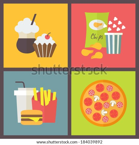 Fast Icon Design Fast Food Icons Set Sweets