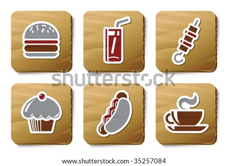 Fast food icons. Vector icon set. Three color icons on cardboard tags.