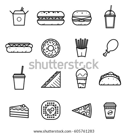 Fast food icons. Vector set.