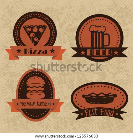 Fast Food Industry vintage labels. Vector illustration