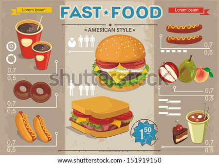 Fast food info graphics, vector background. Elegance Retro Cards for Fast Food Menu