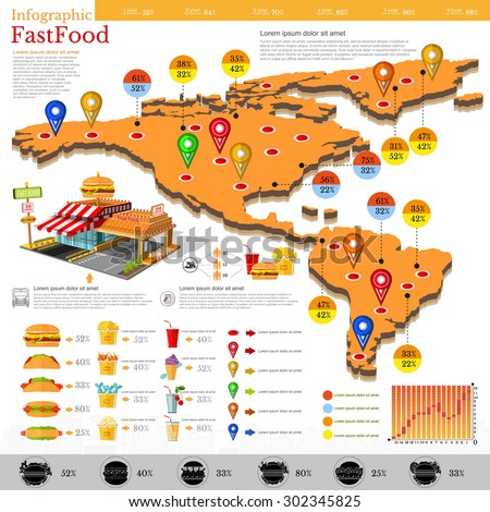fast food infographic map of