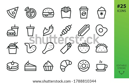 Fast food isolated icons set. Set of pizza slice, burger and drink, chicken legs and wings, mexican taco, gyros kebab, pita, pancakes, dessert, asian noodle box, french fries, hot coffee vector icon Stockfoto ©