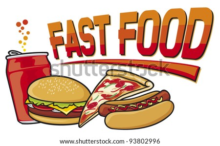 fast food label (hamburger, pizza, hot dog, juice)