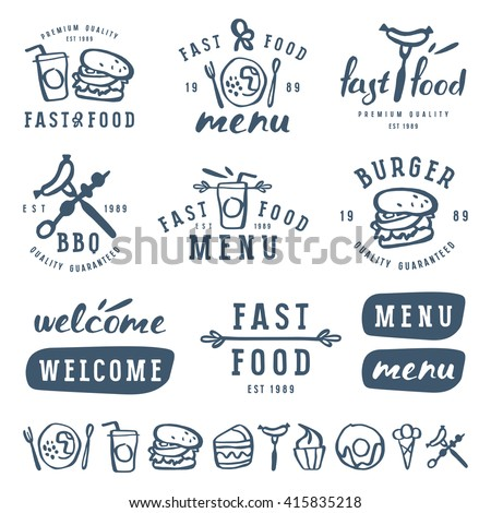 Fast food labels template in brush drawing style. Isolated on white background