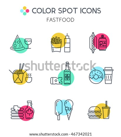 Fast food line icons. Different types of delivery elements and illustrations in trendy linear style. For cafe, web, print, business.