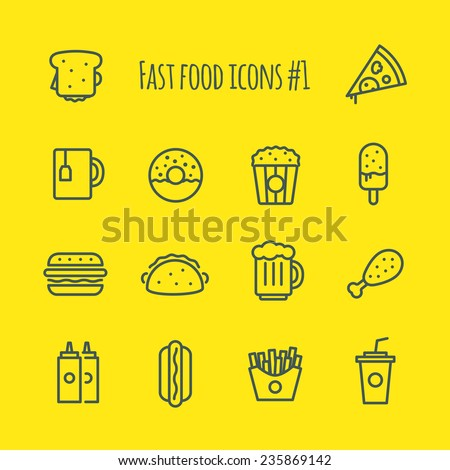 Fast Food Line Icons Set 1
