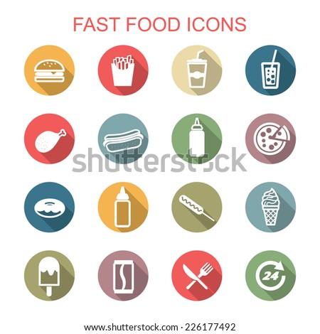 fast food long shadow icons, flat vector symbols