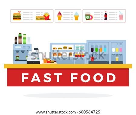 fast food market vector flat