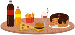 Fast food meal set vector illustration. Classic cheese burger with grilled meat, french fries, cake, pizza and soft drink cup. Fatty unhealthy high-calorie foods isolated on white background