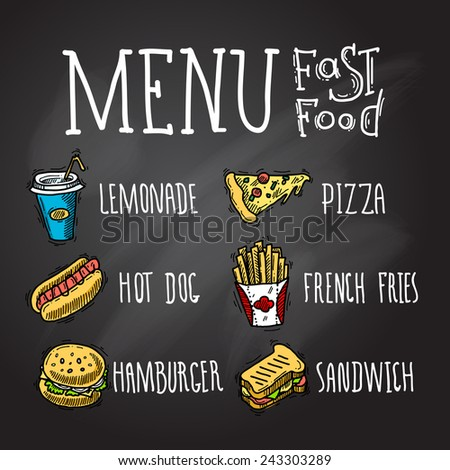 Fast food menu chalkboard decorative icons set with lemonade hot dog hamburger pizza french fries hamburger and sandwich isolated vector illustration