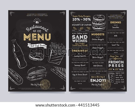 Fast food menu cover layout with breakfast, drinks, and other menu items on chalkboard. Fast food menu design and fast food hand drawn vector illustration. Restaurant menu template with food sketch.