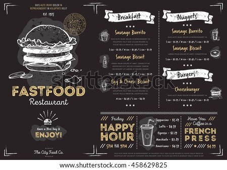 fast food menu cover layout