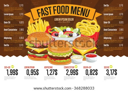 Fast food menu design and fast food board cartoon vector illustration.