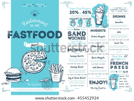 Fast food menu design and fast food hand drawn vector illustration. Cover of fast food menu or restaurant menu template. Layout of fast food menu design. Fast food menu board or food banner. Fast food