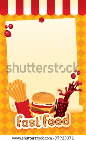 fast-food menu for burger, fries and cola