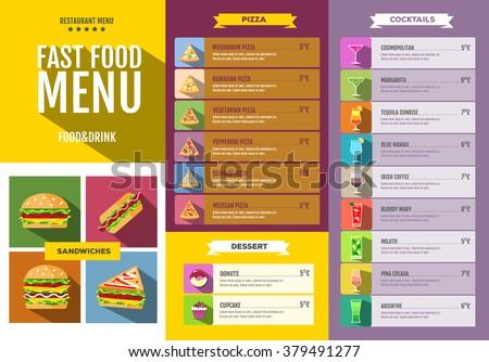fast food menu set of food and