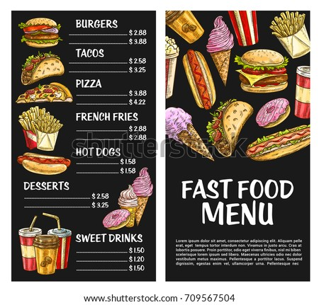 Fast food menu template. Vector price set for fastfood meals and burger sandwiches, pizza or hot dog and popcorn or chocolate ice cream desserts, french fries snack or cheeseburger or hamburger