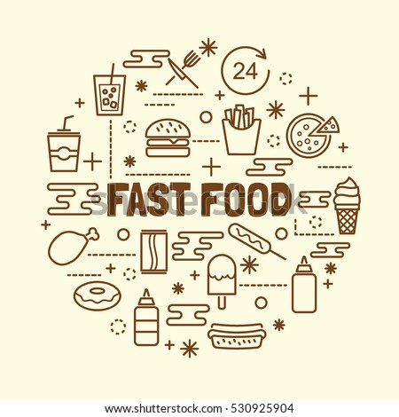 fast food minimal thin line icons set, vector illustration design elements