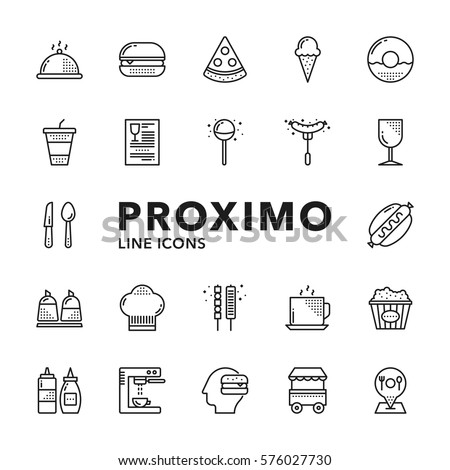 Fast Food Modern Futuristic Line Vector Icons