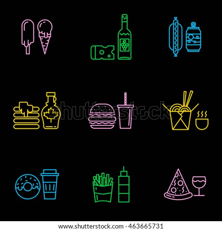 fast food neon icons different