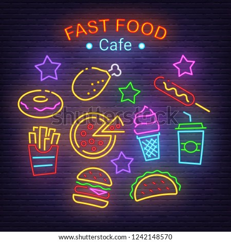fast food neon icons, vector neon glow on dark background