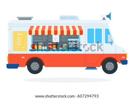 Fast food on wheels vector flat material design isolated on white