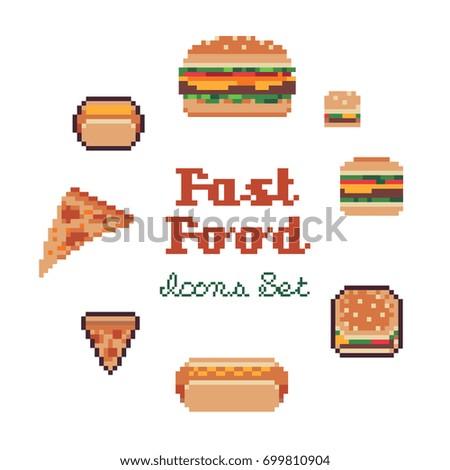 fast food pixel art style vector illustration set.