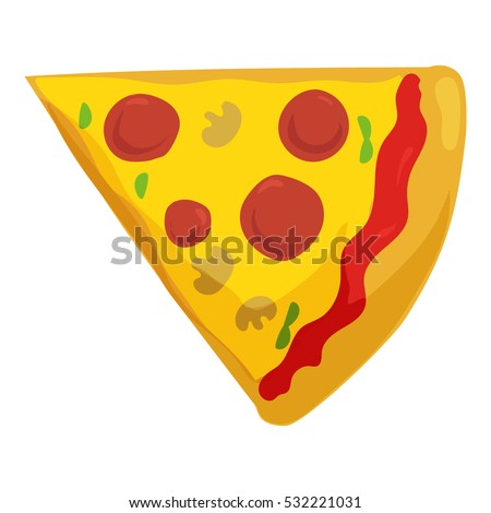 Fast food pizza slice icon. Delivery toppings isolated on white background.