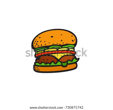 Fast food pop art style hamburger patch badge. Vector sticker, pin, patch, illustration in cartoon 80s-90s comic style