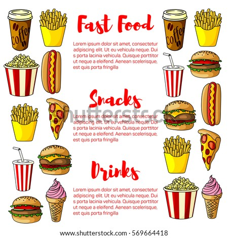 fast food poster with junk food ...
