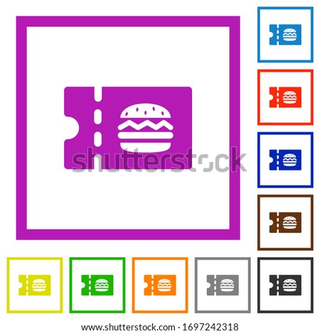 Fast food restaurant discount coupon flat color icons in square frames on white background Stock photo ©