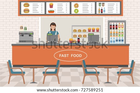 Fast food restaurant interior. Vector illustration. Flat design.