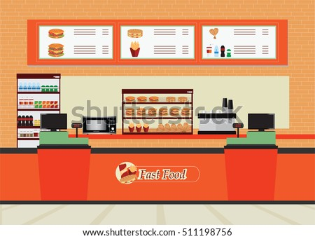 fast food restaurant interior with hamburger and beverage food and drink flat design vector illustration