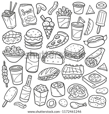Fast Food Restaurant Traditional Doodle Icons Sketch Hand Made Design Vector