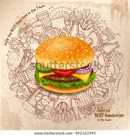 Fast Food Round Design in Outline Hand Drawn Doodle Style with Different Objects on Fast Food Theme. Tasty Hamburger in center. Vector stock Illustration.