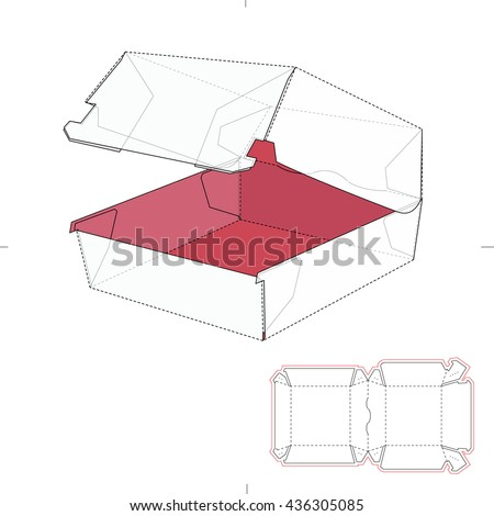 Fast Food Sandwich Burger Box with Die Line Template