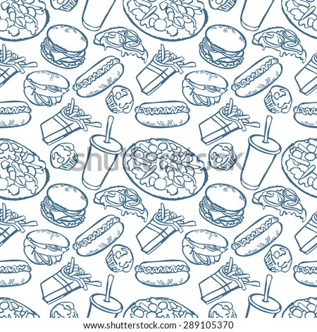 Fast food. Seamless background.