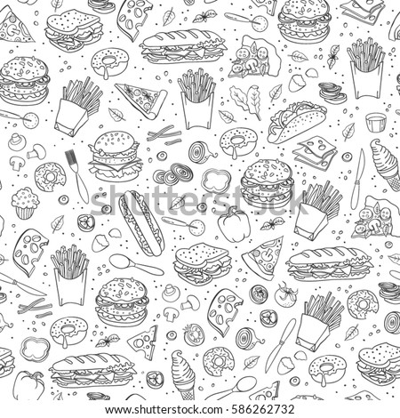 Fast food. Seamless background. Vector fast food pattern. #586262732