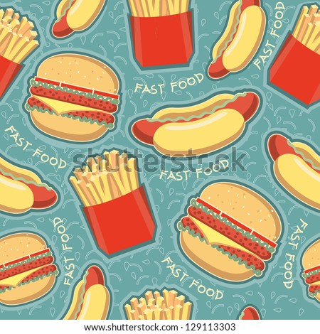 fast food seamless pattern background.Vector food