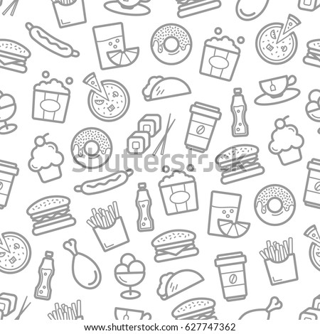 fast food seamless pattern of