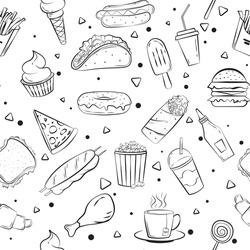 fast food seamless pattern vector illustration. fast food doodles for banner, poster, flyer, brochure