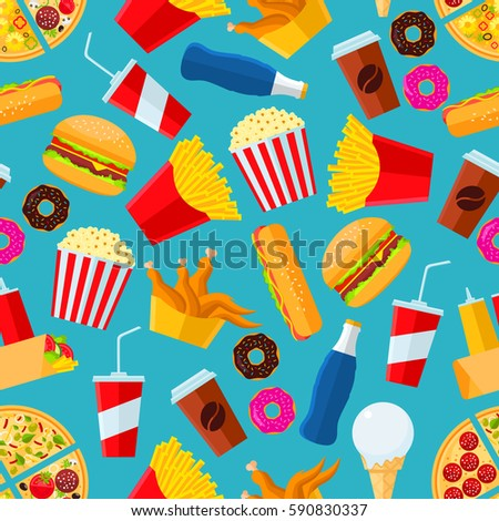 Fast food seamless pattern with vector snacks and drinks as pizza slice, chicken leg, fries, hot dog, cheeseburger, coffee, mayonnaise, ketchup, soda drink, ice cream scoop, pop corn, donut.