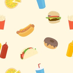 Fast Food Seamless Vector Patter Background