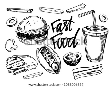Fast food set. Hand drawn sketch converted to vector. Isolated on white background.