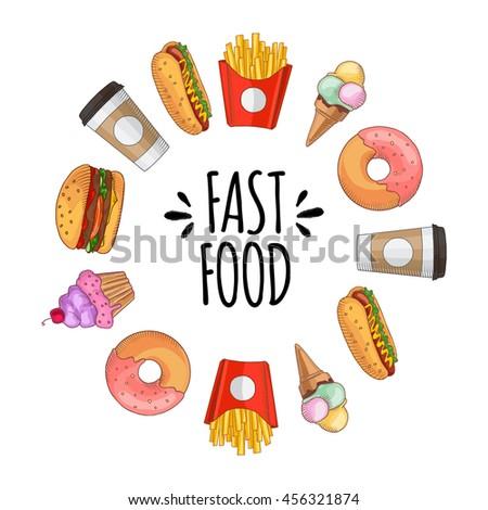 fast food set of cartoon