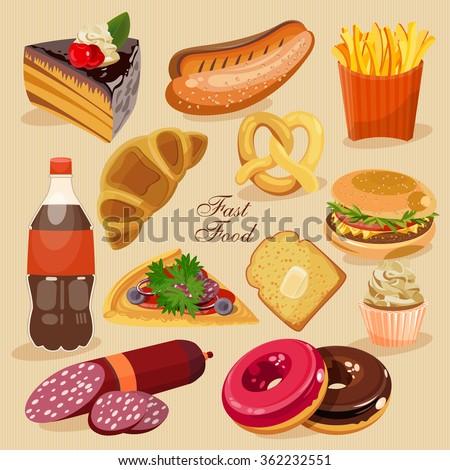 fast food set of junk food