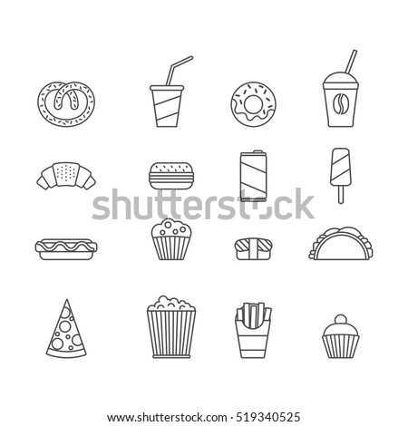 fast food. set of minimalistic line icons.
