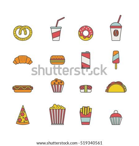 fast food set of minimalistic
